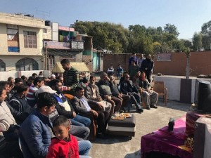 MLC Vibodh Listening to Maan Ki Baat with locals at Rajouri
